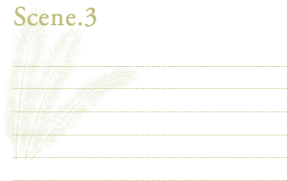 Scene.3 How about the grand party in the Summit Hall after the meeting? The Summit Hall was used as a main venue at the 2000 Kyushu-Okinawa G-8 Summit The illuminated corridor is very beautiful which is located arount the Summit Hall.